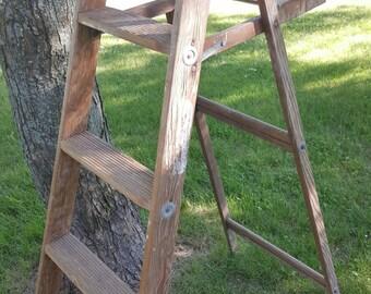 Vintage Painters Ladder, 4 Rung Ladder, Tall Ladder, Old Ladder, Vintage Wood Ladder, Farmhouse Antiques, Wedding Decor, Folding Ladder 1