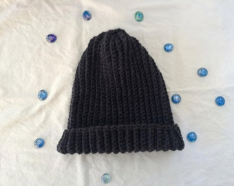 Ribbed Solid Slouchy Beanie