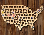 SALE! Beer Cap Map of USA - Made of Beautiful Birch Wood! - Display Beer Cap Art - Father's Day - Valentines Gifts for Men, Husbands,  Dad