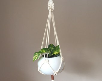 Natural Rope Macrame Plant Hanger with Copper Detail