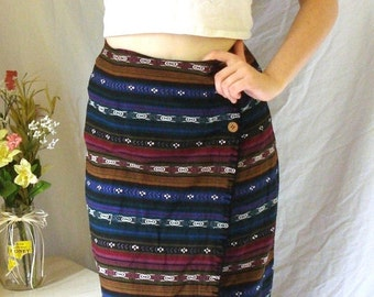 Southwestern print Tangibles trendy wrap skirt