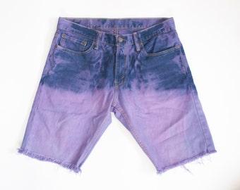 LEVIS purple MARBLED DENIM hand dyed shorts size 32