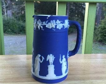 "Wedgwood Jasperware cobalt dip ""Sacrifices"" lidded pitcher / creamer / Dip Jug c. 1900"