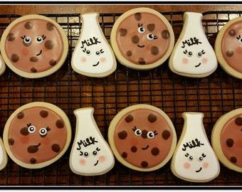 Milk & Cookies Cut Out Sugar Cookies - 1 Dozen