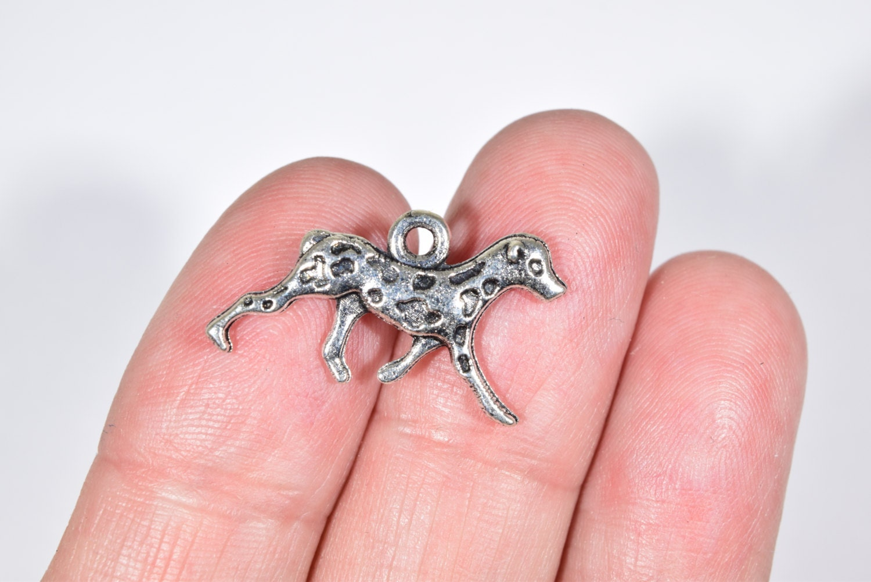 10 Dalmatian Dog Charms Dog Charms Silver Dog Charms