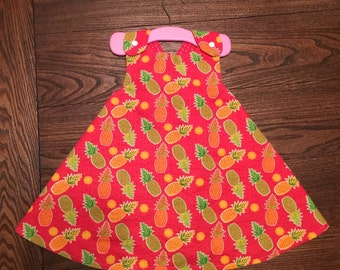 Pineapple and Red with White Polka Dots Handmade Reversible Sundress for Infants  and Toddlers