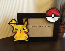 Pikachu and Pokeball Photo or Picture Frame  - Pokemon.  Hama/ Perler Beads