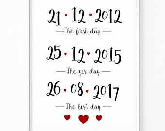 A4 'The first day, the yes day, the best day Wedding print