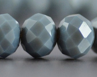 Chinese Crystal Rondelles in a Soft Gray with a Hint of Blue 8x10mm