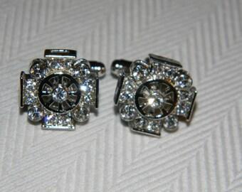 Vintage Silver Tone Rhinestone Cufflinks