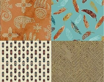 Cotton Quilting Bundle-Native Spirit Collection-Whistler Studios-Traditional Indigenous Designs-Quilting Fabrics-Modern Multi-Colored