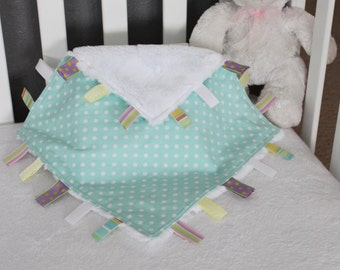 Baby / Toddler Tag Security Blanket Pale Blue Green Polka Dot Cotton with Super Plush Cuddle Minky in Snow White, 15 x 15