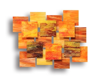 """Glass and Metal Wall Sculpture """"Autumn"""""""