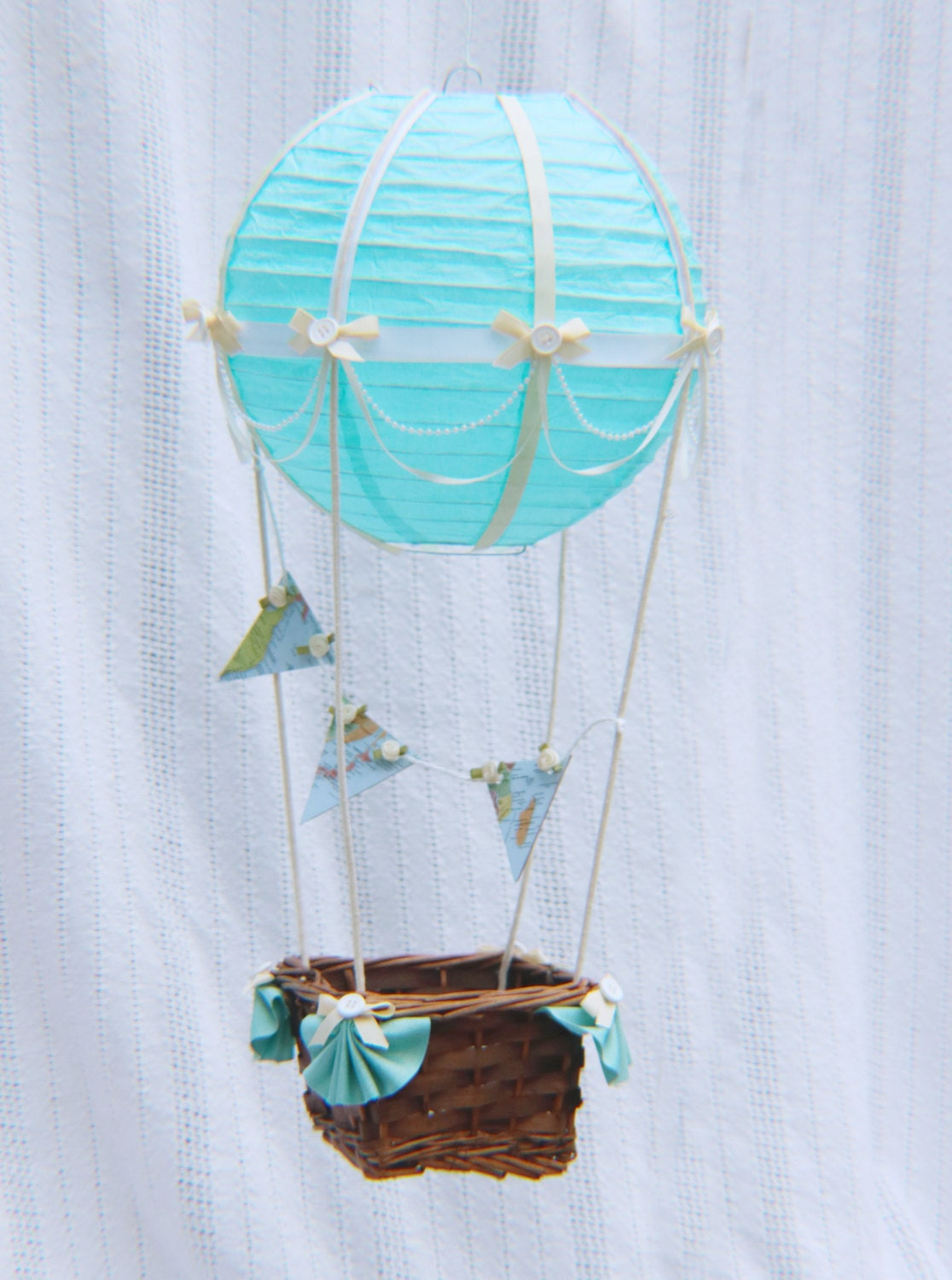 hot air balloon decoration ivory white lightblue map bunting. Black Bedroom Furniture Sets. Home Design Ideas
