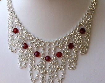 Silver and deep red fairytale necklace