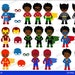 50% OFF SALE Superboy ,Superhero Boys, Digital Clipart / Multicultural / African American  / For personal and Commercial Use