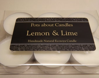 Set of 6 highly scented Lemon & Lime soy wax tea lights