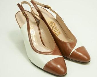 Salvatore Ferragamo ~ 80s ~ Brown and White Slingback Heels ~ Size 6 B