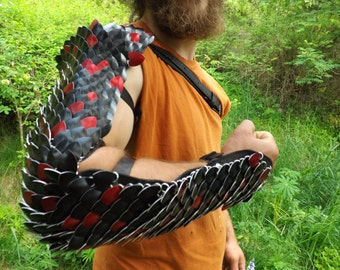 Full Arm Scalemaille and Leather Armor - Scale and Chainmail - Adjustable - Made to Order - Dragonscale Gladiator Armor