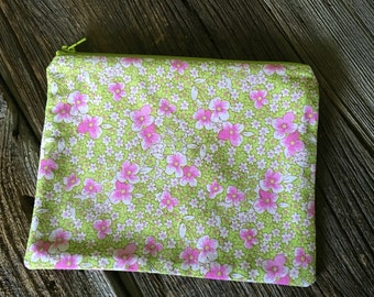 Zipper Pouch - green and pink floral print
