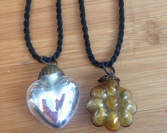 Vintage Mercury Glass Christmas Ornament Up-cycled Necklace, Silver Heart or Gold Flower