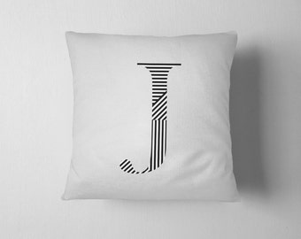 Initial letter throw pillow - Black and White stripe pattern