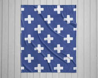 Indigo swiss cross pattern modern plush throw blanket with white back