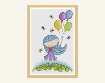 girl with balloons cross stitch pattern