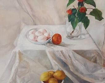 Original Still Life Painting, Oil on Canvas, Fruits, Plants, eggs, flower pot