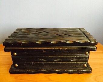 Vintage Mid Century Brutalist Jewelry Box /Dresser Box / Vintage Hand Carved Box