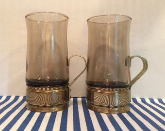 Set of Two Vintage Beucler Brass and Smoke Glass Russian Irish Coffee/Tea Glasses