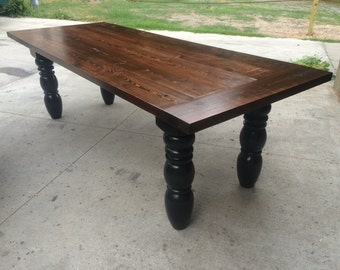 8' farm table with black base