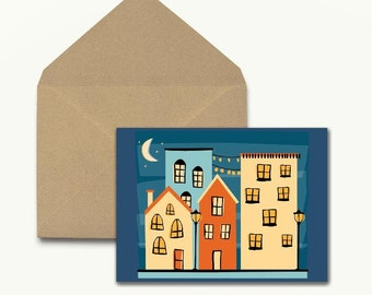 Night Village Note Cards – Set of 10 With Envelopes