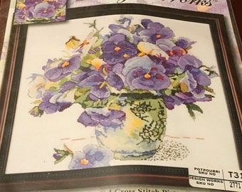 Design Works 2771 Counted Cross Stitch Kit Pansy Floral Flower Bouquet  Vase Picture Purple Adelene Fletcher New Sealed