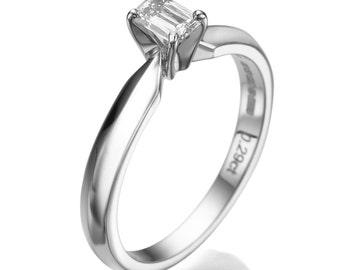 Emerald Cut Engagement Ring, 0.29 CT Diamond Solitaire Ring, 18K White Gold Ring, Solitaire Engagement Ring Size 5.5