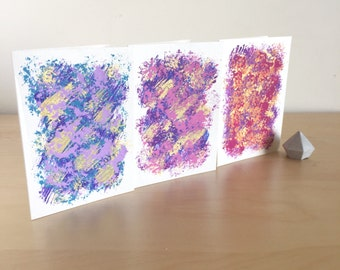 MINI NOTECARD SET - trio handmade blank mini greeting cards with envelopes - gold abstract painting