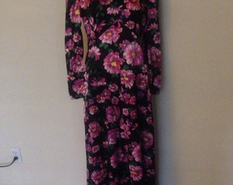 1970's Long Satin Floral Dress