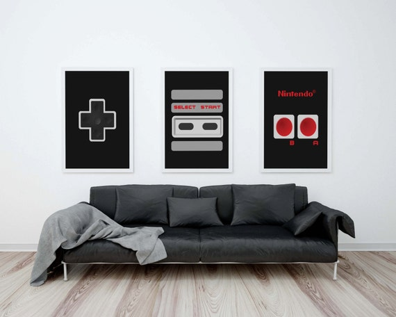 "Nintendo Controller Printable 11""X14"" Set, Nintendo Art, NES Controller print, Geek Chic, Geeky Nordic Print, Retro Video Game, Gift For Him"