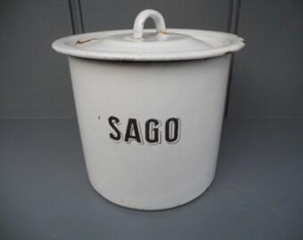 1930s Vintage Enamel Sago container