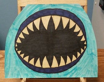 super scary sharks moulth full of teeth drawing