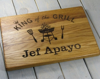 Mens Gift, King of the Grill, Fathers Day Grill Board, Grilling, Father's Day Gift, Father Birthday Gift Cutting Board, Gift for him