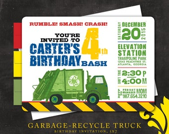 GARBAGE/RECYCLE TRUCK . birthday invitation