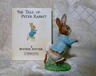 Beatrix Potter's F. Warne & Co. LTD Peter Rabbit Figurine With The Tale Of Peter Rabbit Book