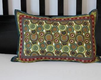Contemporary green red blue pillow cover, Elegant pillow cover, Queen pillowcase, 100% cotton standard pillowcase, zip closure pillow case