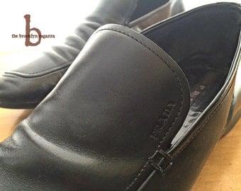Prada Loafers, Black Leather (Men's, size 9)