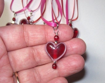 On Sale Heart Red heart ribbon necklace was 5.00 now 2.50 Valentine