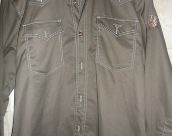 Vintage Western haki 1970's  cotton Polyester Shirt with Embroidery Medium Large Rockabilly