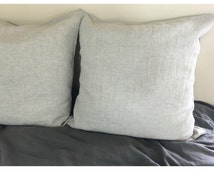 Natural Linen Euro Sham Covers in light grey shade, accented pillow covers, square pillow covers, 12x16, 16x16, 18x18, 20x20, 24x24, 26x26