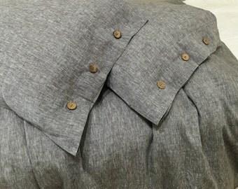 Chambray Grey Button Duvet Cover Handmade in natural linen, Linen duvet cover, linen bedding