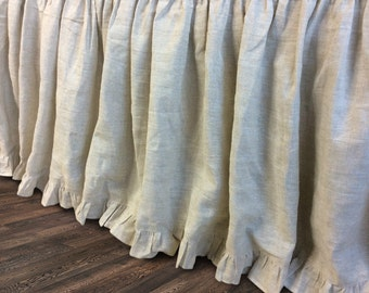 natural linen bedskirt with ruffle hem, bed ruffles, linen dust ruffles, bed skirts, shabby chic bedding, Romantic country